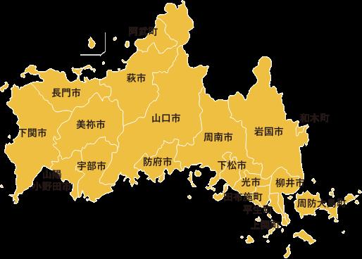 画像:山口県の地図